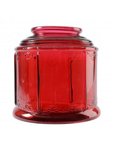 Petit photophore en verre recyclé rouge DEC4063508