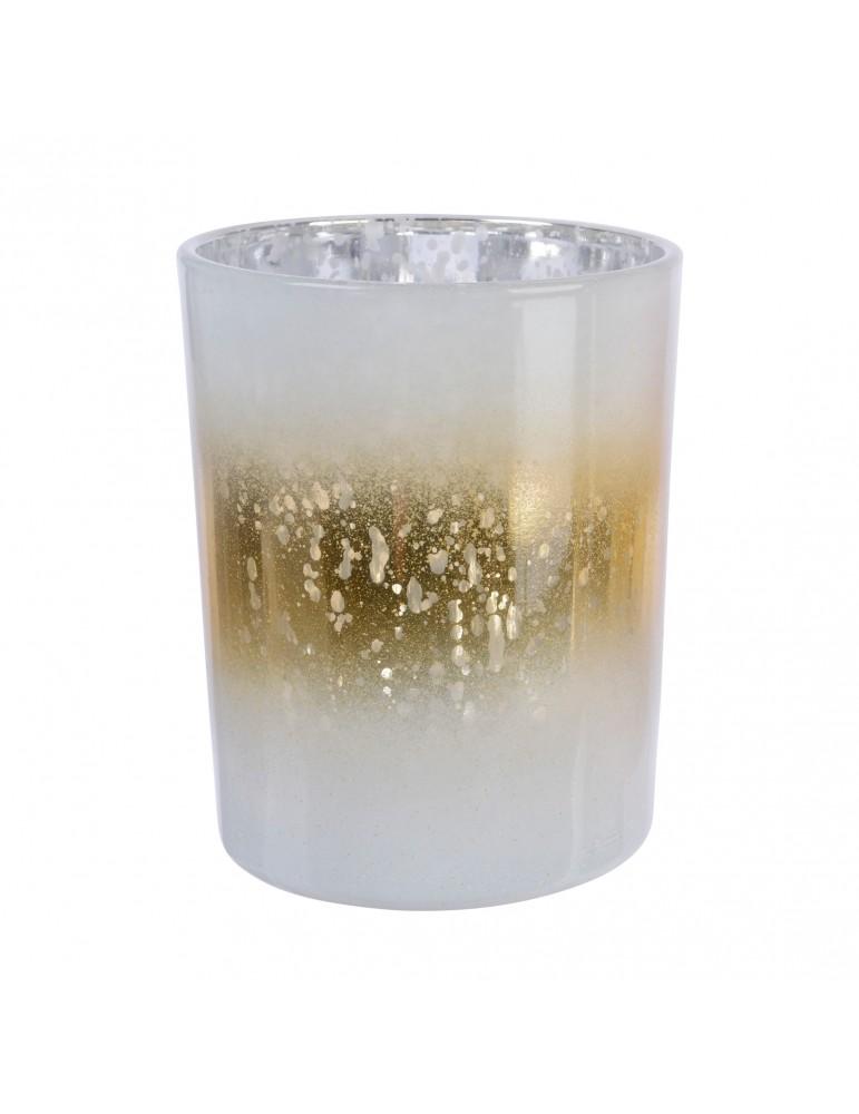 Photophore en verre doré et blanc DEO4035167Decoris