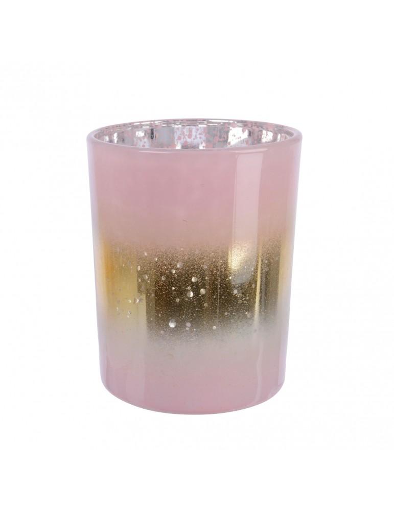 Photophore en verre rose et doré DEC4063499Decoris
