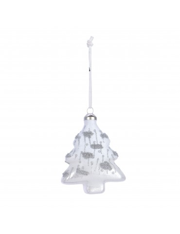 Suspension de noël en verre blanc forme sapin et paillette DEO4035003