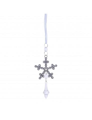 Suspension de noël effet cristal et strass forme flocon de neige DEO4035025