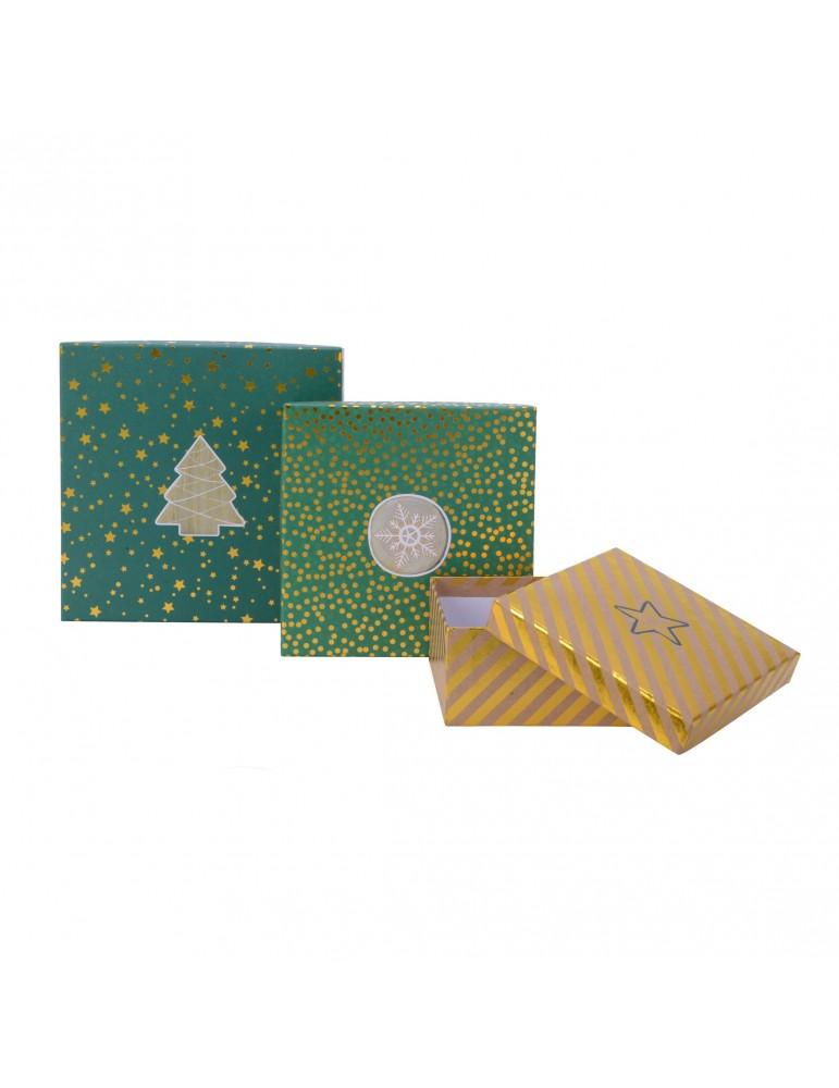 Boite cadeau carré en papier motifs assortis vert/brun (Lot de 3) DEO4035027