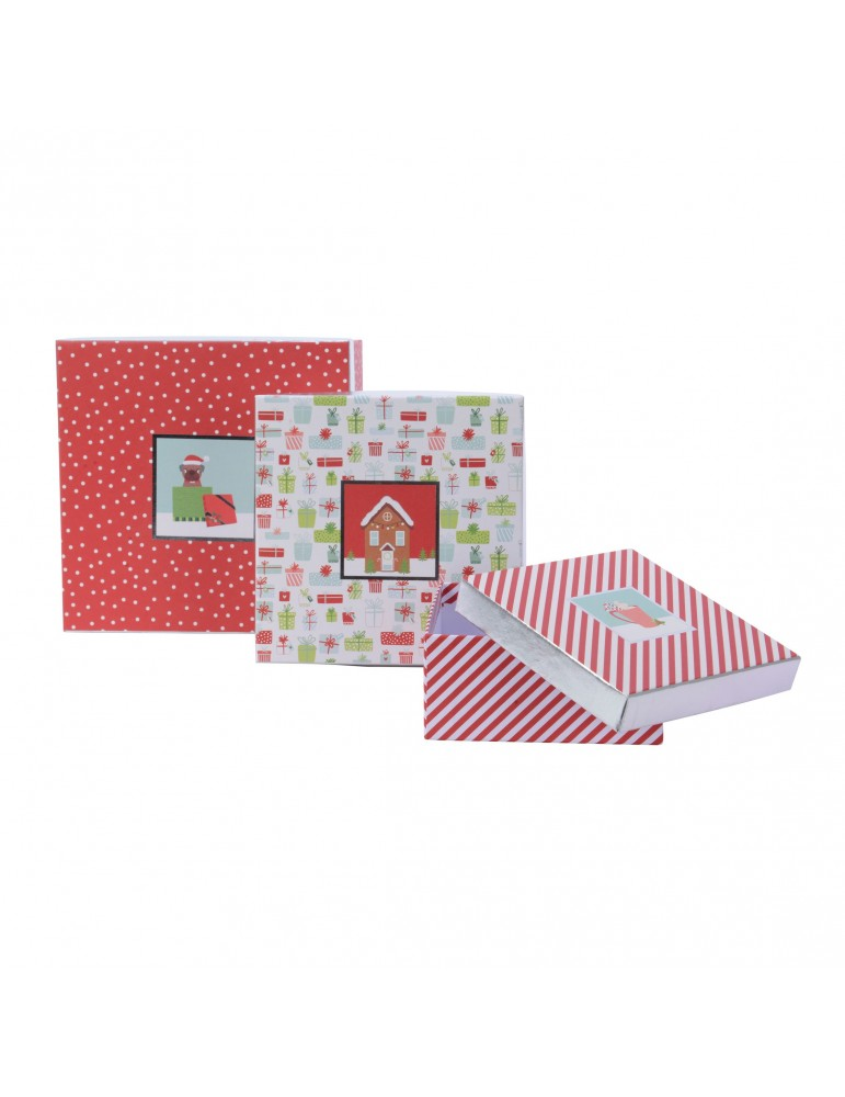 Boite cadeau carré en papier motifs assortis rouge/blanc (Lot de 3) DEO4035028