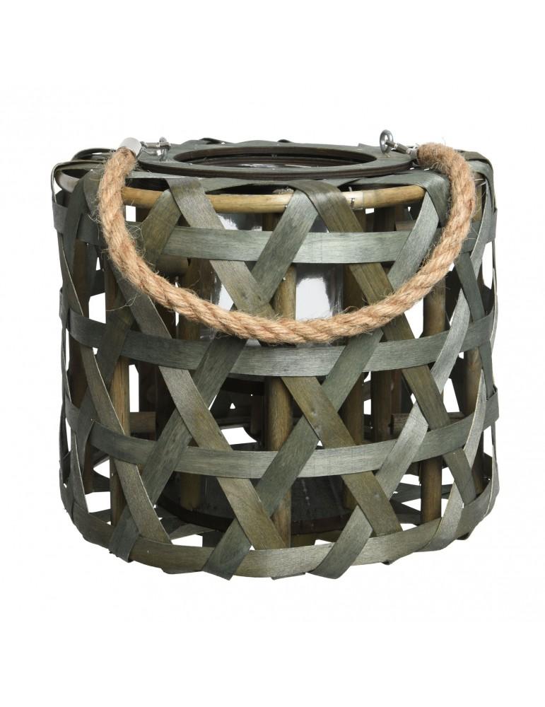 Lanterne en bois de peuplier marron avec anse modèle S DEC4063568Decoris