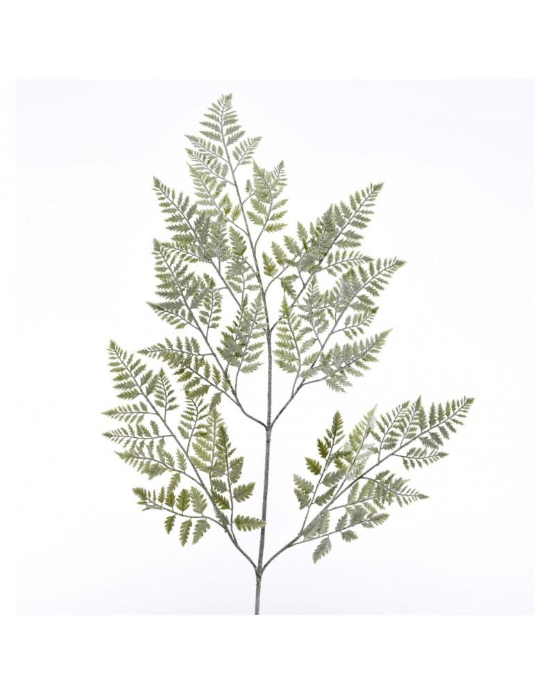 Branche artificielle verte avec fougère enneigée DAA4063540