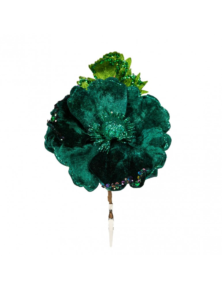 Fleur décorative en velours et paillettes vert DEO4035139Decoris
