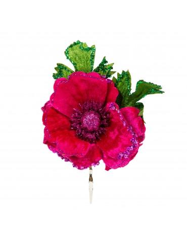 Fleur décorative en velours et paillettes rose DEO4035141Decoris
