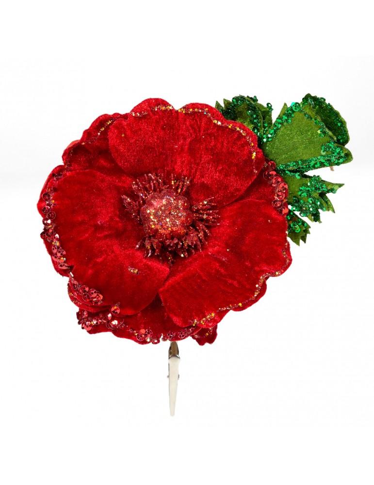 Fleur décorative en velours et paillettes rouge DEO4063466Decoris