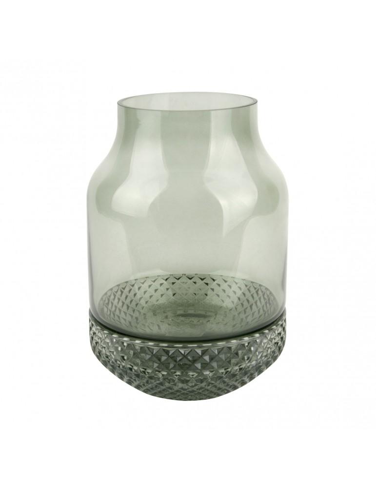 Vase texturé vert avec relief diamant D.16cm DVA4105008Present Time