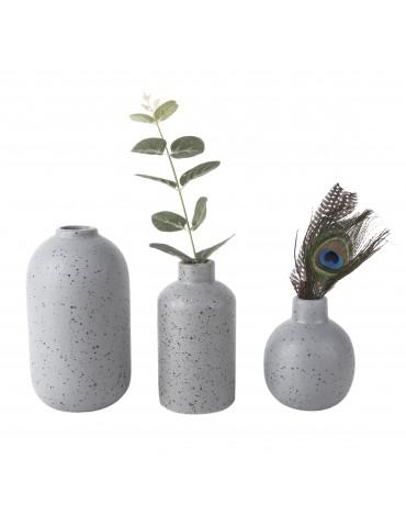Lot de 3 vases en céramique gris effet terrazzo DVA4105014Present Time