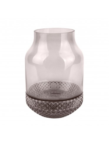 Vase texturé gris relief diamant D.16cm DVA4105009Present Time