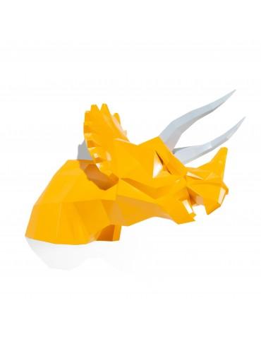 Trophée tricératops jaune orangé façon origami DMR4122011Delamaison