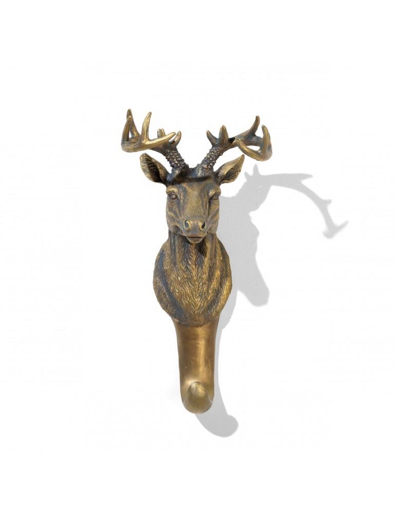 Patère en résine noire effet bronze tête de renne DPE4122000Delamaison
