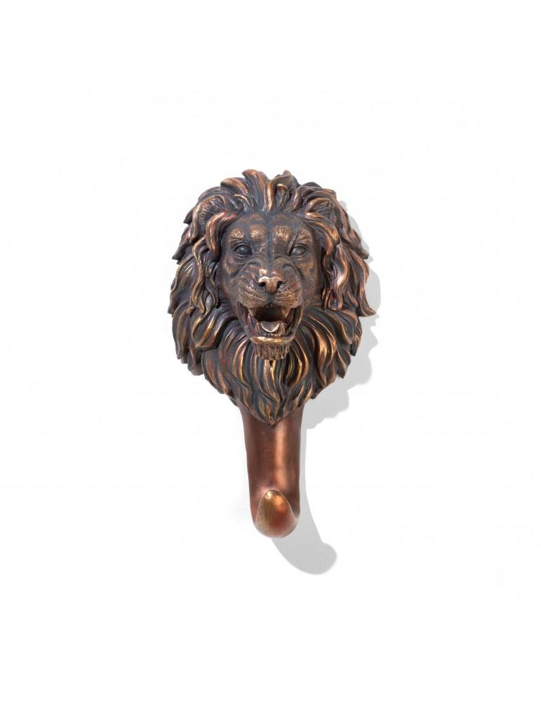Patère en résine noire effet bronze tête de lion DPE4122004Delamaison