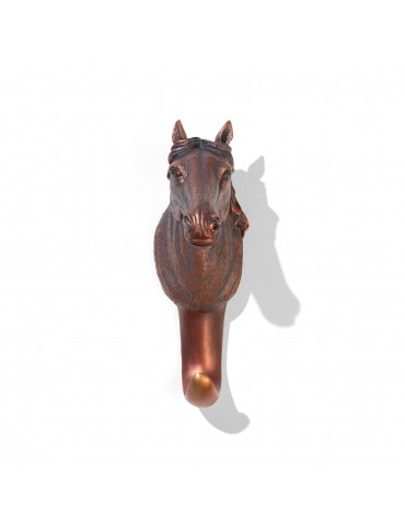 Patère en résine noire effet bronze tête de cheval DPE4122003Delamaison
