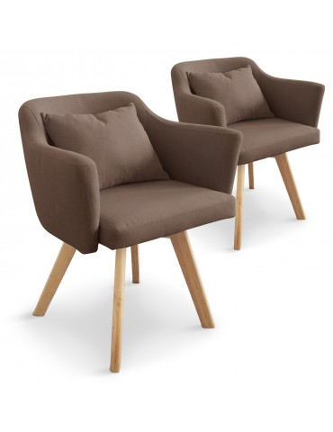 Lot de 2 fauteuils scandinaves Dantes Tissu Taupe yf1529lot2taupe