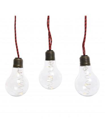 Guirlande ampoule 10 LED Transparent câble rouge IGU4101001Lumineo