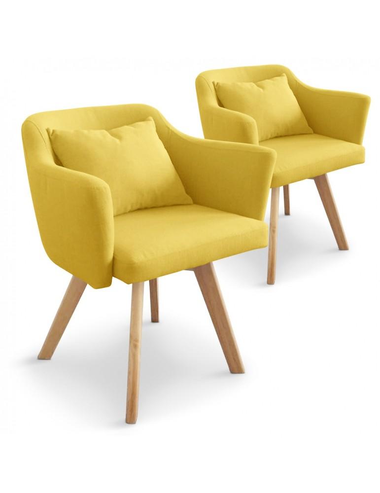 Lot de 2 fauteuils scandinaves Dantes Tissu Jaune yf1529lot2jaune