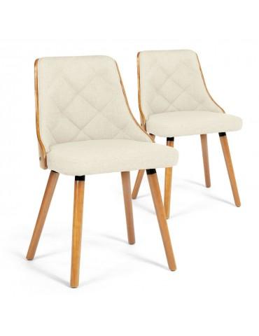 Lot de 2 chaises scandinaves Lalix Chêne clair et Tissu Beige 4630txchenetissubeige