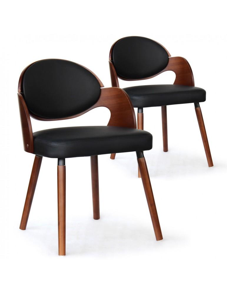 Lot de 2 chaises scandinaves Estel Bois Noisette et Noir 2xgf226anoisnoir