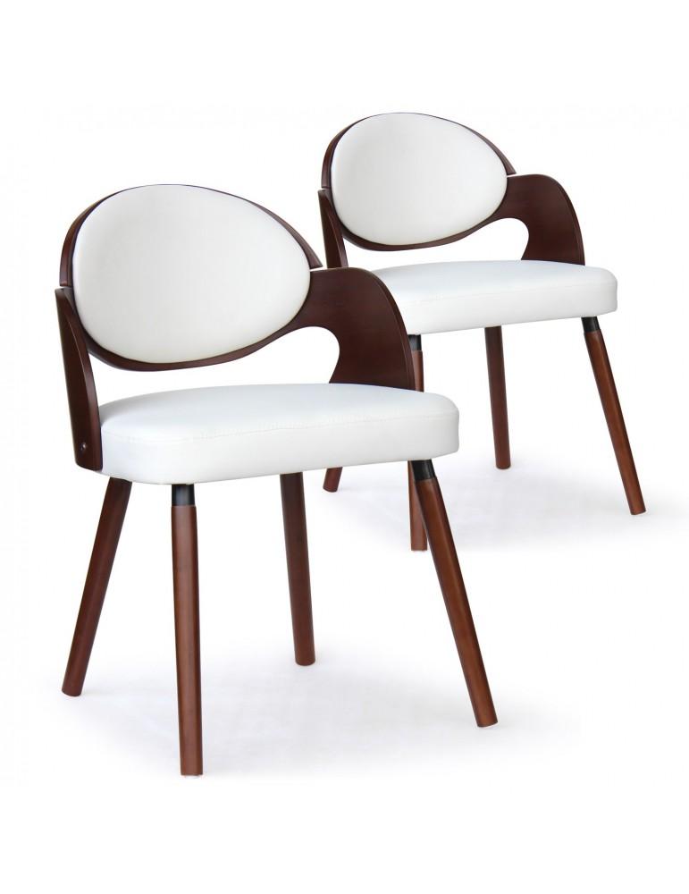 Lot de 2 chaises scandinaves Estel Bois Noisette et Blanc 2xgf226anoisblanc