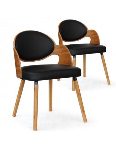 Lot de 2 chaises scandinaves Estel Chêne Clair et Noir 2xgf226anatnoir