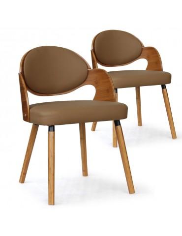 Lot de 2 chaises scandinaves Estel Chêne Clair et Taupe 2xgf226anatcreme