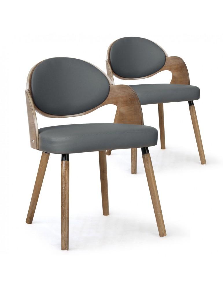 Lot de 2 chaises scandinaves Estel Bois Vintage et Gris 2xgf226avintgrey