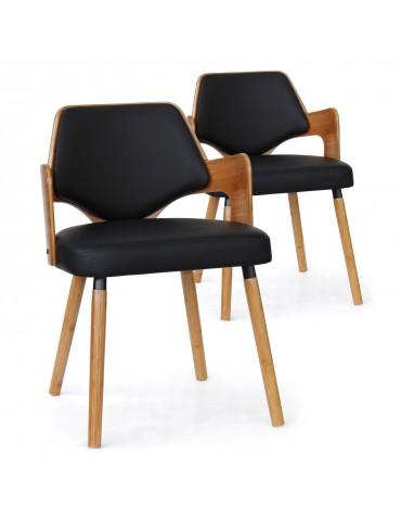 Lot de 2 chaises scandinave Dima Bois Naturel et Noir 2xgf225anatnoir