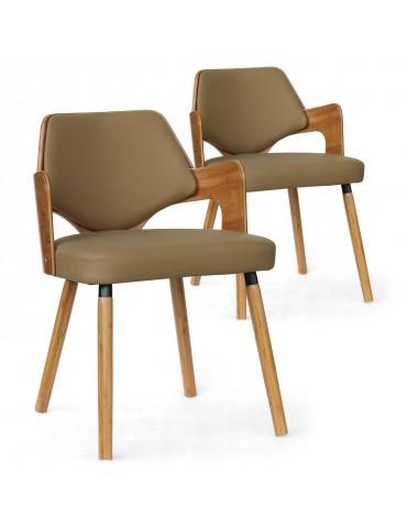 Lot de 2 chaises scandinave Dima Bois Naturel et Taupe 2xgf225anatcreme