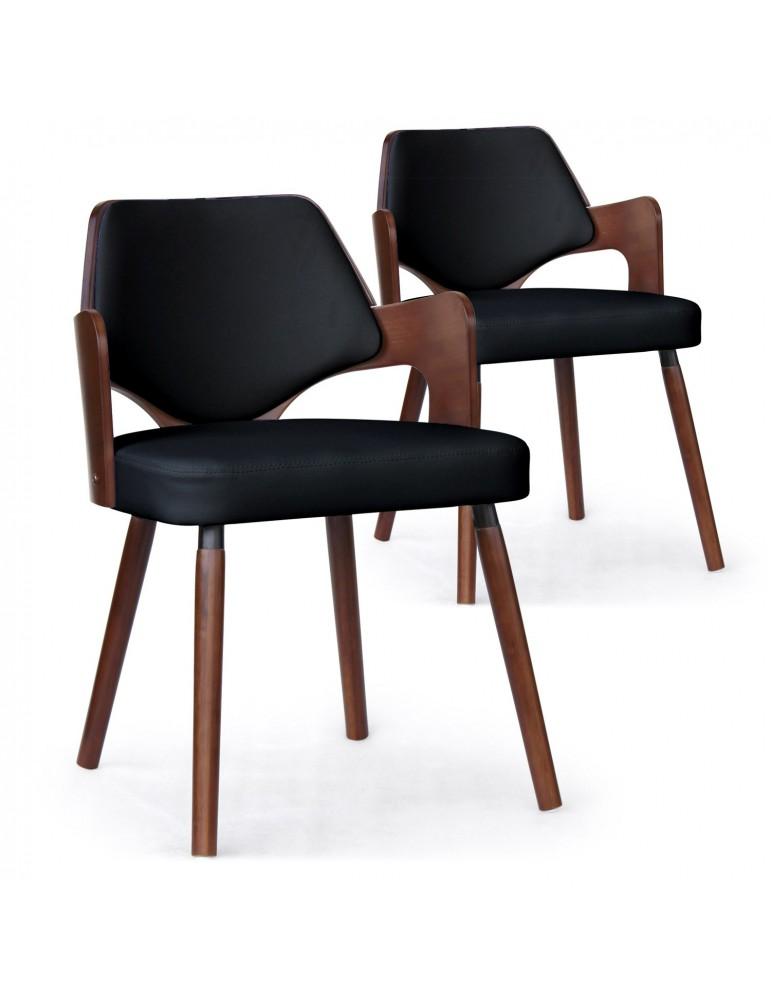 Lot de 2 chaises scandinave Dima Bois Noisette et Noir 2xgf225anoisnoir