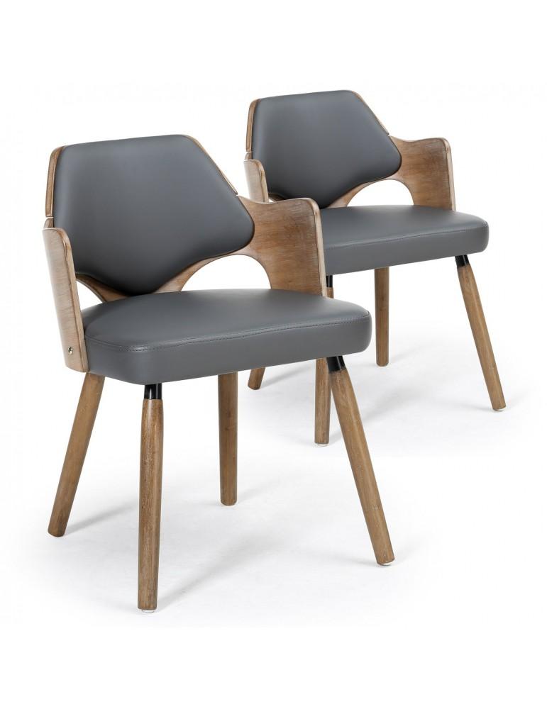Lot de 2 chaises scandinave Dima Vintage Gris 2xgf225avintagegrey