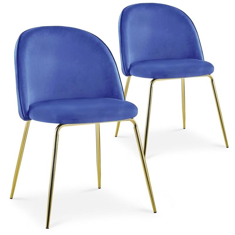 Lot de 2 chaises Spectra Velours Bleu dc5319bluevelvet