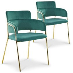 Lot de 2 chaises / fauteuils Ginko Velours Vert dc5321greenvelvet