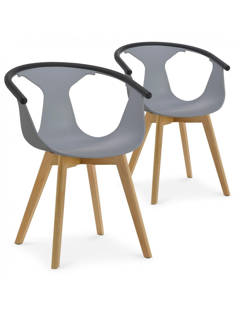 Lot de 2 chaises scandinaves Buffalo Gris 8326grey