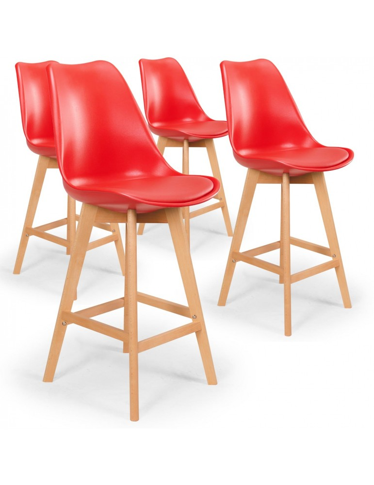 Lot de 4 chaises hautes scandinaves Bovary Rouge c807rouge
