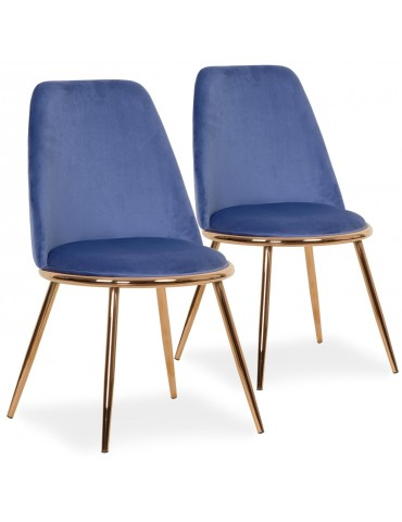 Lot de 2 Chaises Wallis Velours Bleu tr1802velvetblue