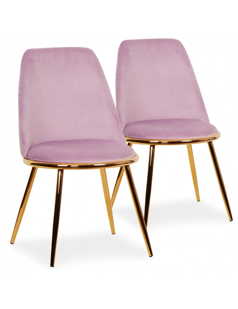 Lot de 2 Chaises Wallis Velours Rose tr1802velvetpink