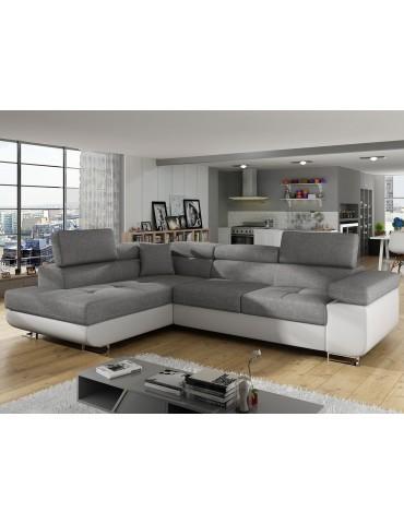 Canapé d'angle Antoni avec têtières relevables angle gauche simili Blanc et tissus Gris clair angsoft17sawana21