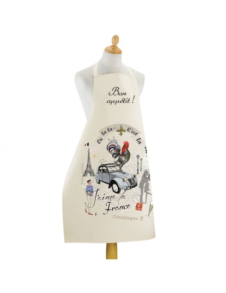 Grand tablier de cuisine France Panorama Ecru 72 x 96 6559011000Torchons & Bouchons