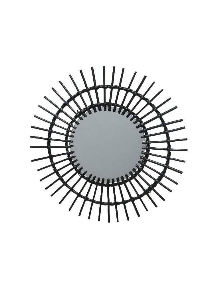 Miroir soleil en saule tressé noir D.55cm DMI4248047Decoris