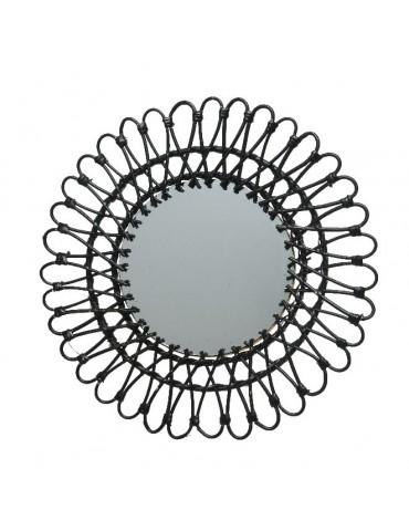 Miroir soleil en saule tressée forme fleur noir D.55cm DMI4218021Decoris
