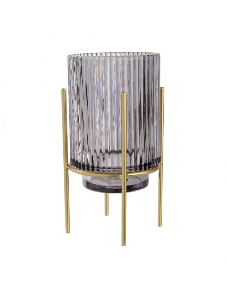 Photophore en verre gris sur support métal AQUARELLE DEC4248125Decoris