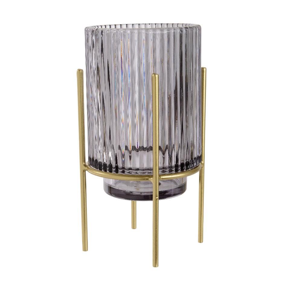 H 77 cm DECO pilier gris chiné photophore pilier céramique vasculaire avec verre d/'Art Formano