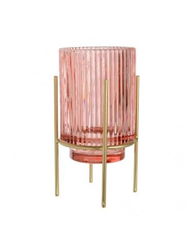 Photophore en verre rose sur support métal AQUARELLE DEC4248124Decoris
