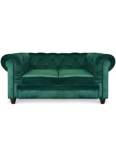 Grand canapé 2 places Chesterfield Velours Vert a605v2greenvelvet