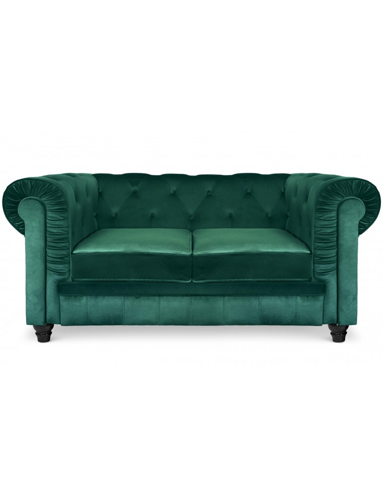 Grand canapé 2 places Chesterfield Velours Vert a605v2greenvelvet