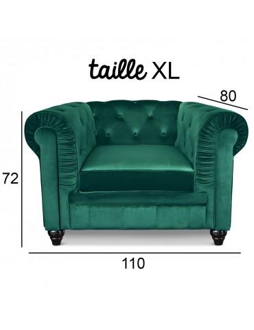 Grand fauteuil Chesterfield Velours Vert a605v1greenvelvet