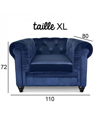 Grand fauteuil Chesterfield Velours Bleu a605v1bleuvelvet
