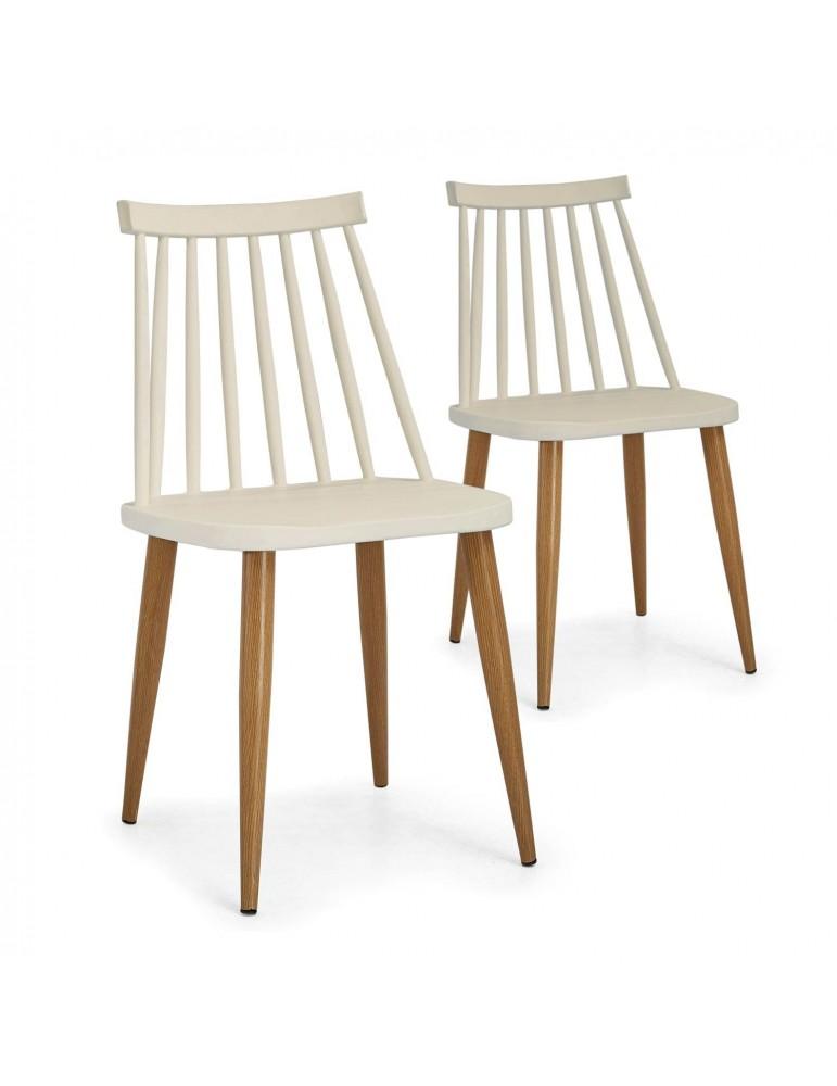 Lot de 2 chaises scandinaves Houlgate Beige dc1573lot2beige